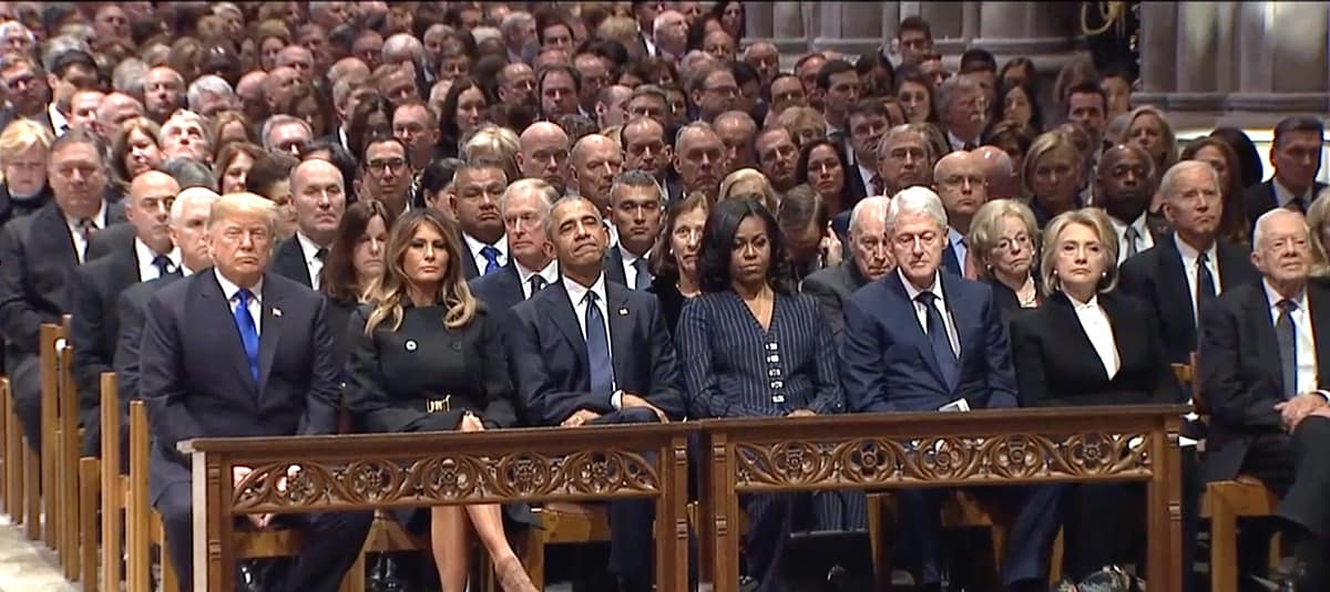 front row Bush funeral