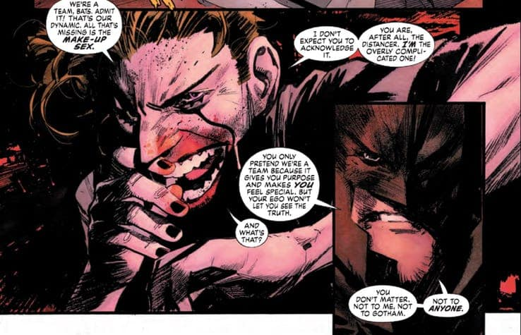 Murphy's core premise for White Knight was to reverse the roles of Batman  and the Joker by portraying Joker as the hero and Batman as the villain.