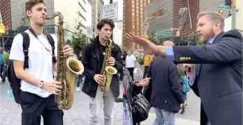 Saxophonists street preacher