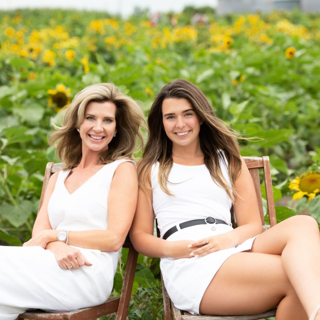 Sunflower Field family mother and daughter in white outfits