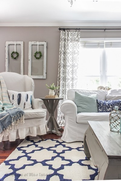 white and blue living room Charming Home Tour ~ Shades of Blue Interiors - Town & Country Living