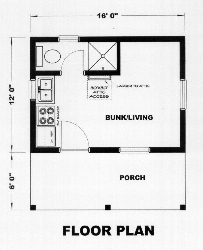 Tiny House Plans 12x16 192 Sq Ft
