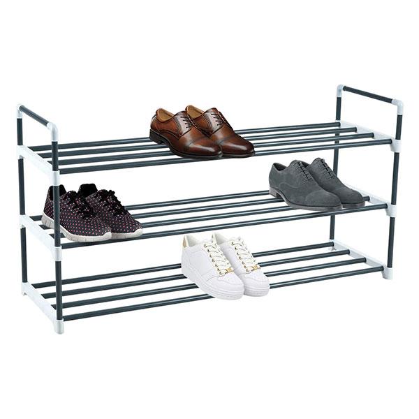 knight 3 tier grey heavy duty metal shoe rack