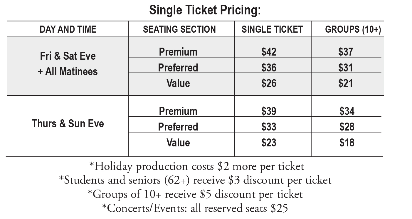 single ticket pricing table 16-17