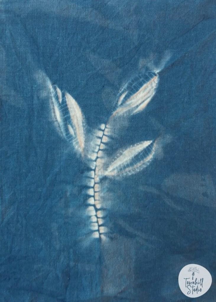 Three leaved indigo shibori design