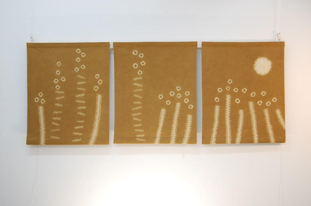 Gold grasses triptych 140 x 60 cms