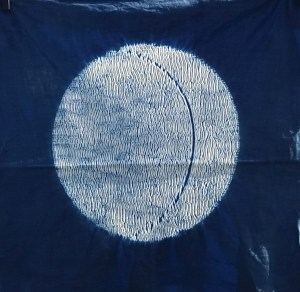 indigo dyed moon design shibori
