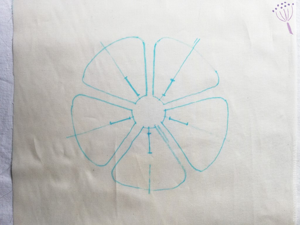 drawing for shibori flower pattern