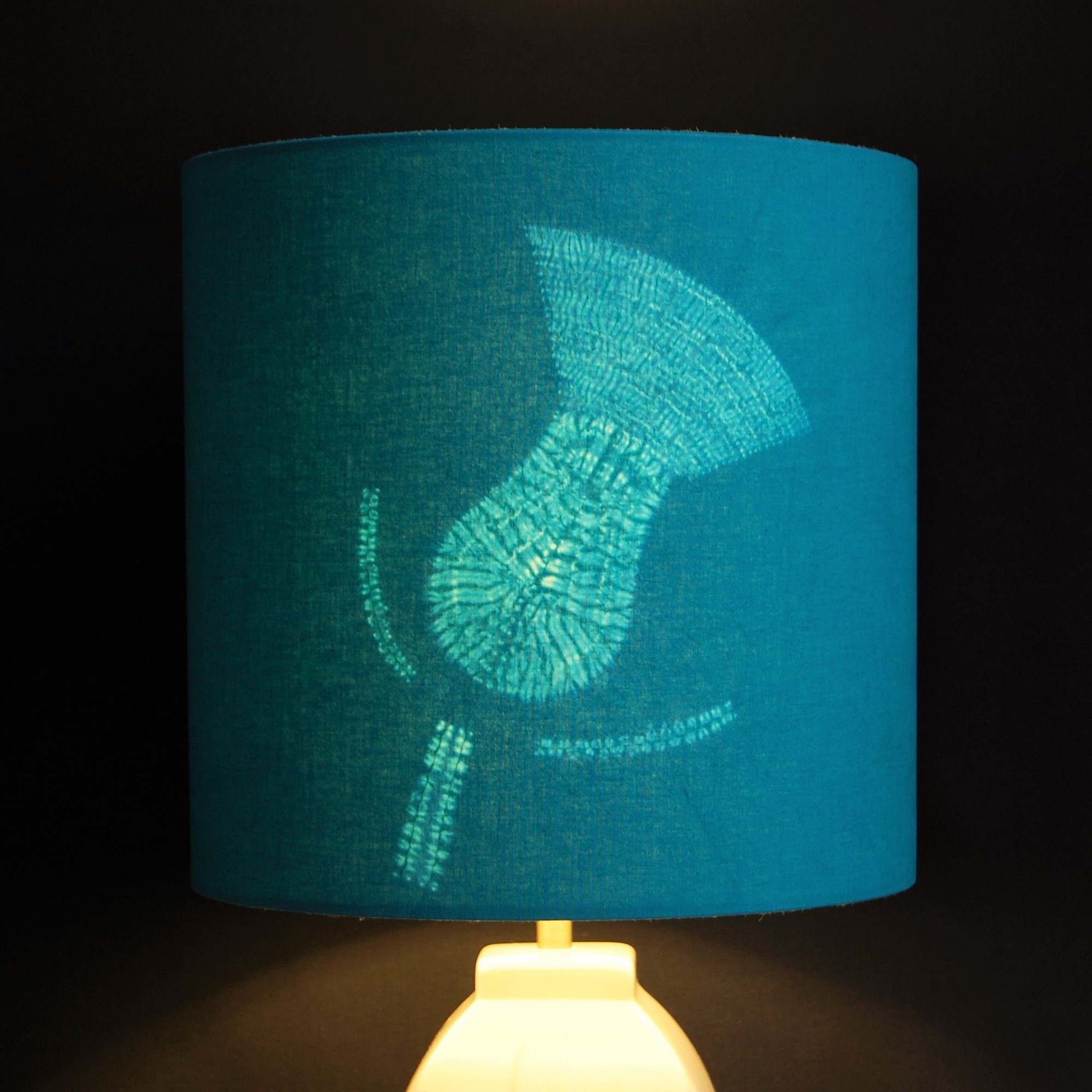 Contemporary Thistle Flower Table Lampshade in Teal Green.