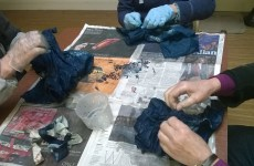 Unpicking dyed pieces