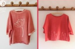 Shows two ladies tops with shibori decoration on
