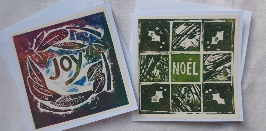 How to make simple collagraph Christmas cards in 5 straightforward steps