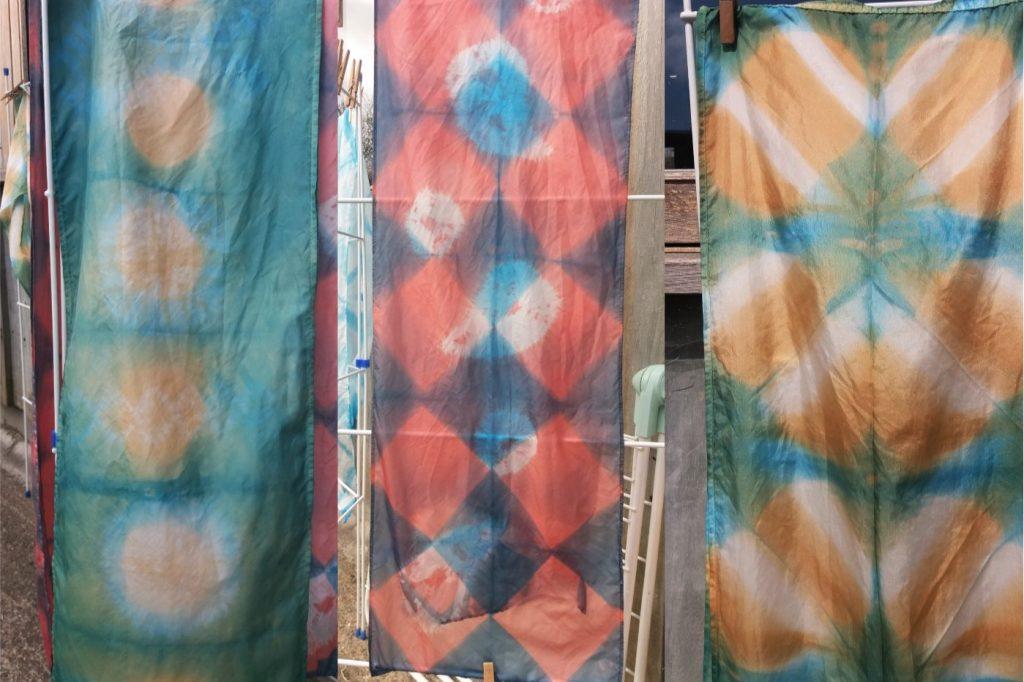 collection of shibori scarves