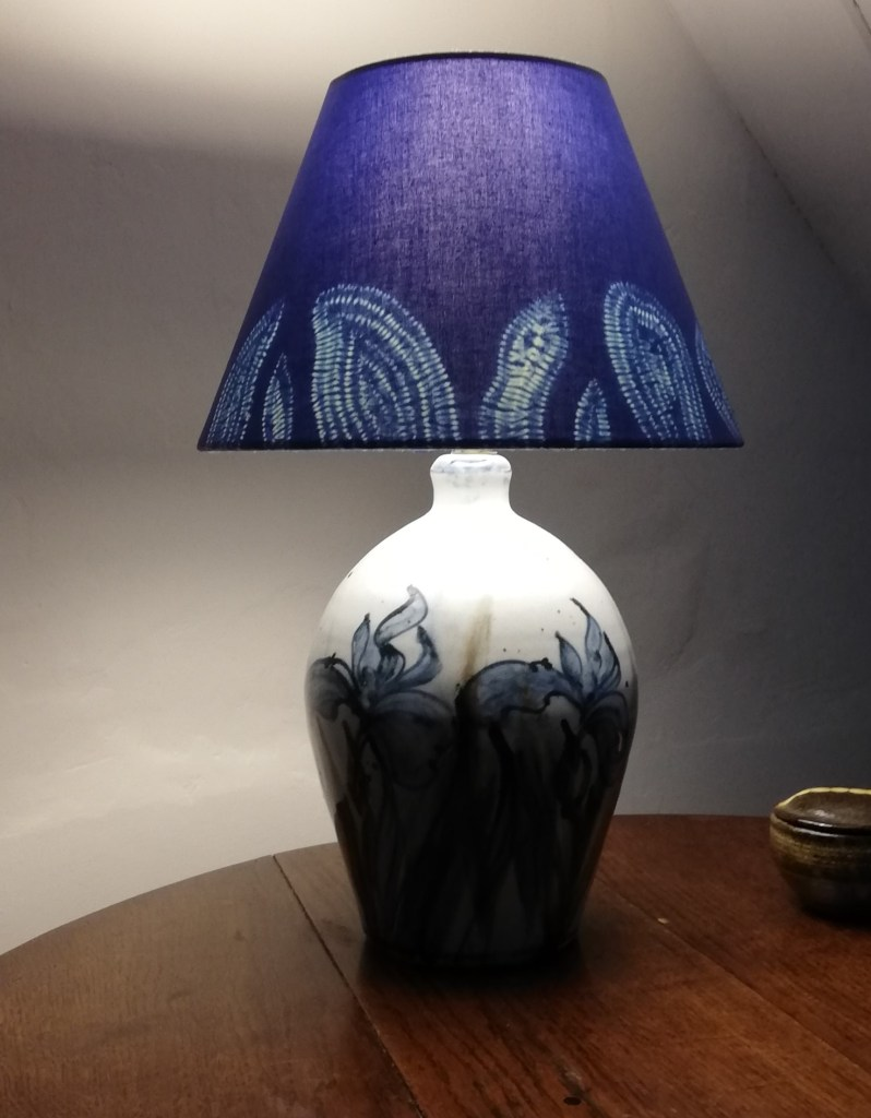 Deep blue table lamp shade