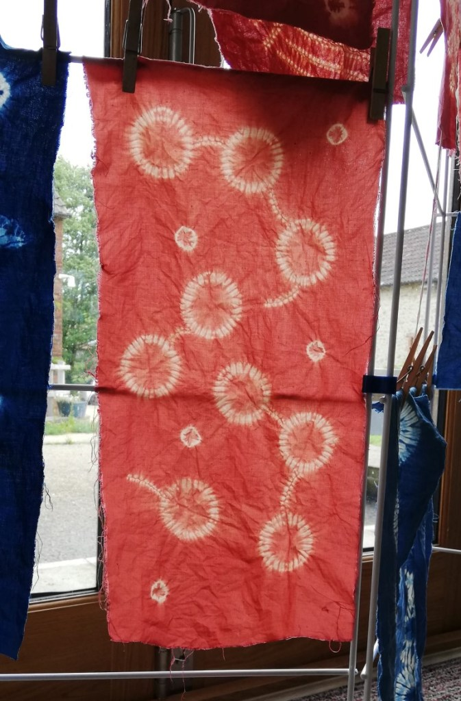 interlinked shibori circles completed