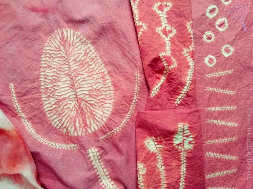 madder dyed shibori fabrics