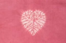 Creating a handsome heart in shibori stitch resist and madder dye