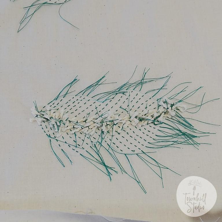 single mokume leaf stitching