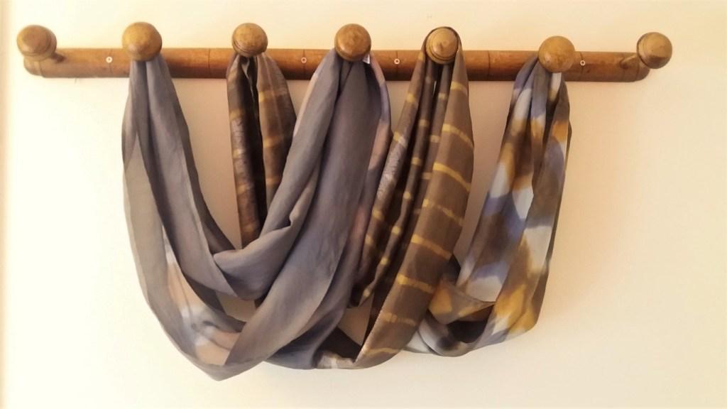 naturally dyed shibori silk scarves