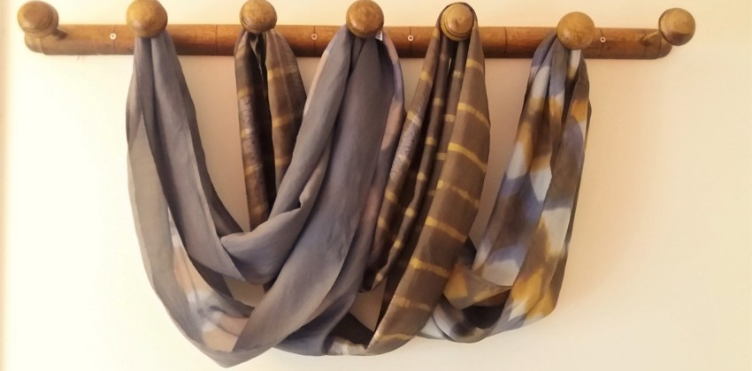 naturally dyed shibori silk scarves