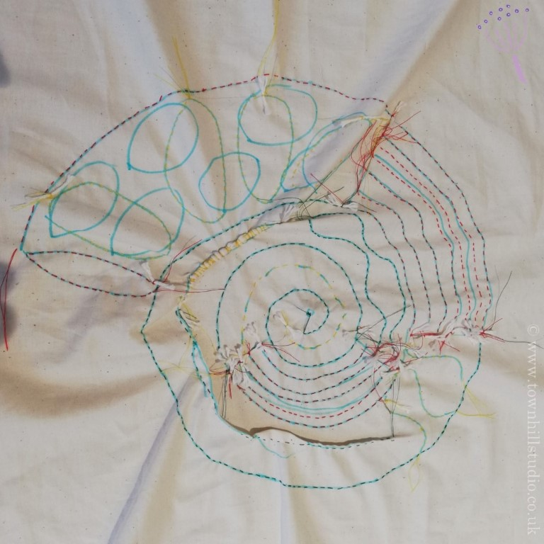 shibori ammonite stitching 2