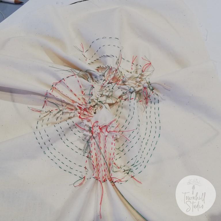 Stitching for shibori ammonite