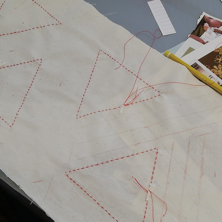 shows shibori diamond and stripes stitching
