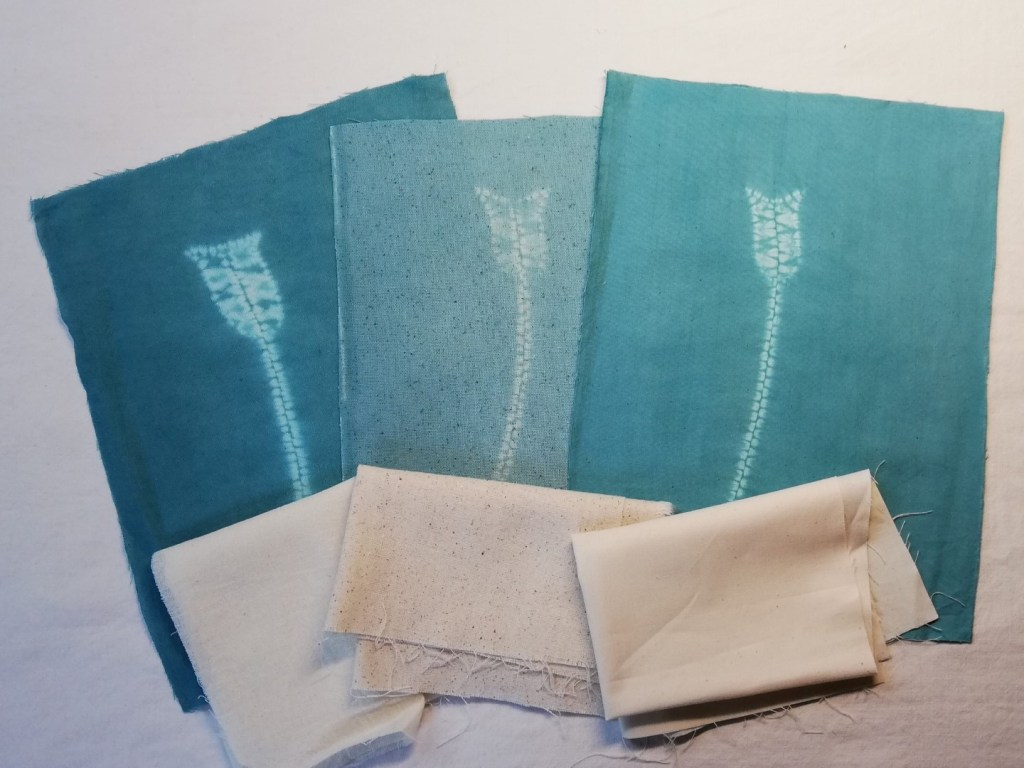 shibori stitching on 3 different fabrics