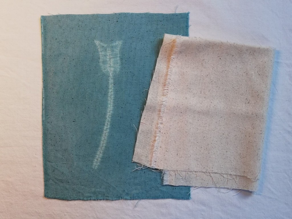 shibori stitching on loose weave fabric