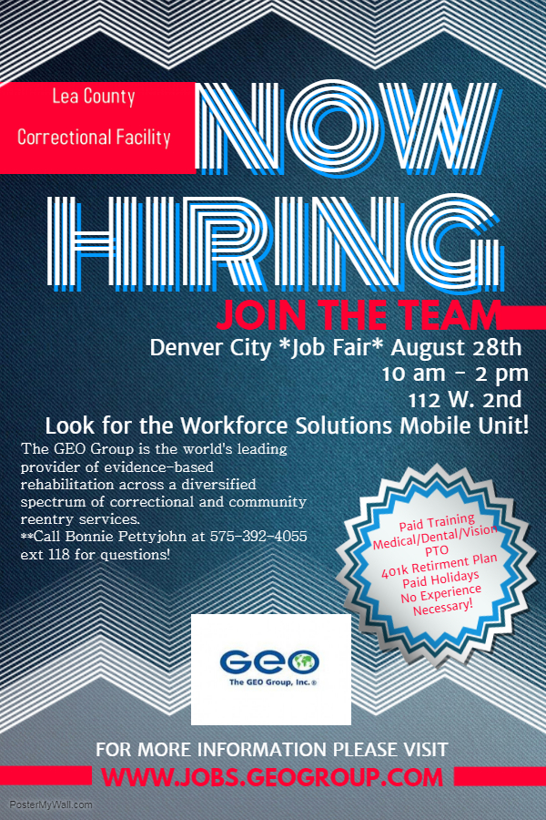 Lea County Correctional Facility Is Having A Job Fair In Denver City August 28th From 10 Am To 2