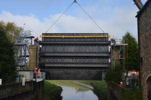 The completed sluice gate is precisely fitted