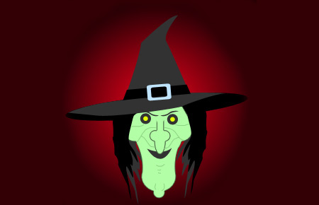 Halloween Cartoon Witch in Photoshop