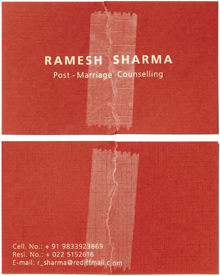 Ramesh Sharma Post Marriage Counseling Business Card