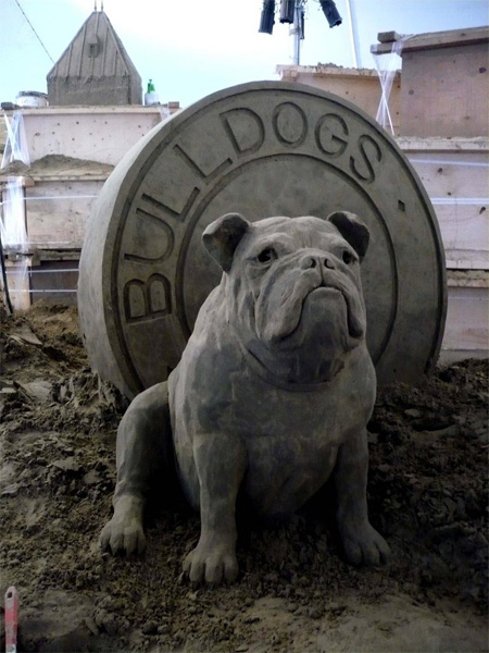 Bulldog Sand Sculpture