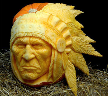 Scary Pumpkin Sculpture