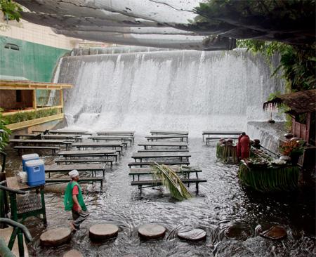 Restaurant Under Waterfall