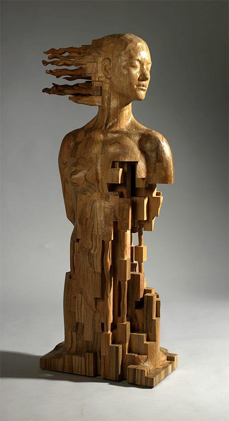 Pixelated Wooden Sculptures