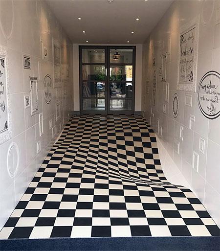 Paint Falling Wallpaper Optical Illusion Floor