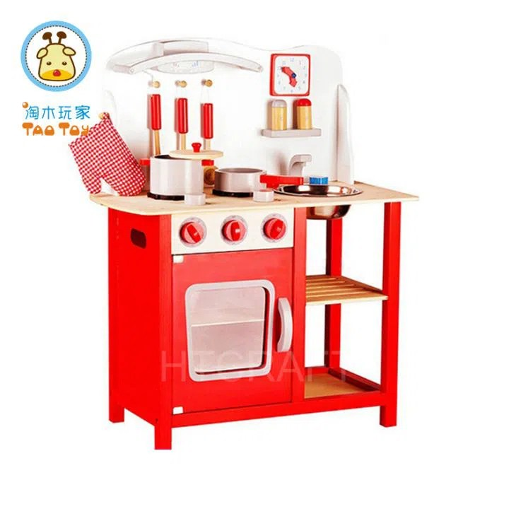 TK032 Curved Solid Wood Toy Kitchen Set with Cookers