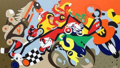 Schilderij - Horsepower Mania - Toyisme. Hedendaagse kunst online kopen.