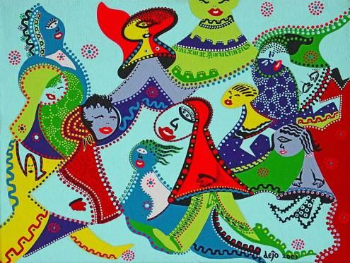 Schilderij - Vrouwen Beijing - Toyisme. Hedendaagse kunst online kopen.