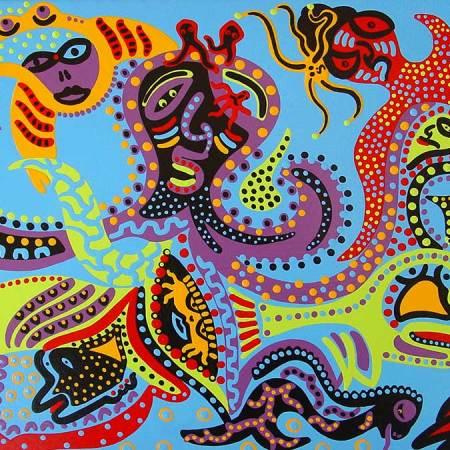Schilderij - Vissen Zee - Toyisme. Hedendaagse kunst online kopen.