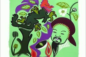Schilderij - Betovering Groene Bladparels - Toyisme. Hedendaagse kunst online kopen.