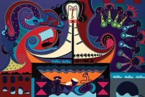 Schilderij - De Scheepsdirigent - Toyisme. Hedendaagse kunst online kopen.