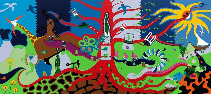 Schilderij - Leven Energie Schilderij - Toyisme Kunstbeweging