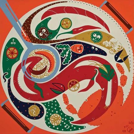 Schilderij - Smaak Samenwerking Schilderij - Toyisme. Hedendaagse kunst online kopen.