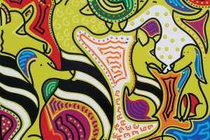 Kunstdruk - Zebrahonden Kunstdruk - Toyisme. Kunst te koop. Koop kleurrijke kunstdruk online.