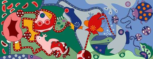 Fine Art Print - Flower Frogs Art Print - Toyism