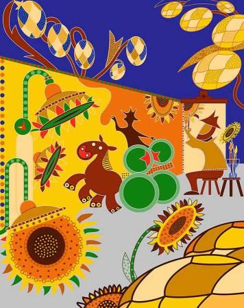 Zeefdruk - Grafiek - Bierbloemen Zeefdruk - Toyisme. Kunst te koop. Koop kleurrijke kunstdruk online.