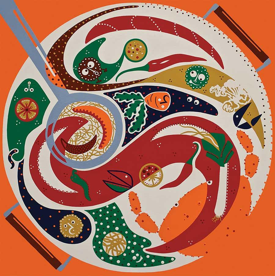 Zeefdruk - Grafiek - Smaak Samenwerking Zeefdruk - Toyisme. Kunst te koop. Koop kleurrijke kunstdruk online.